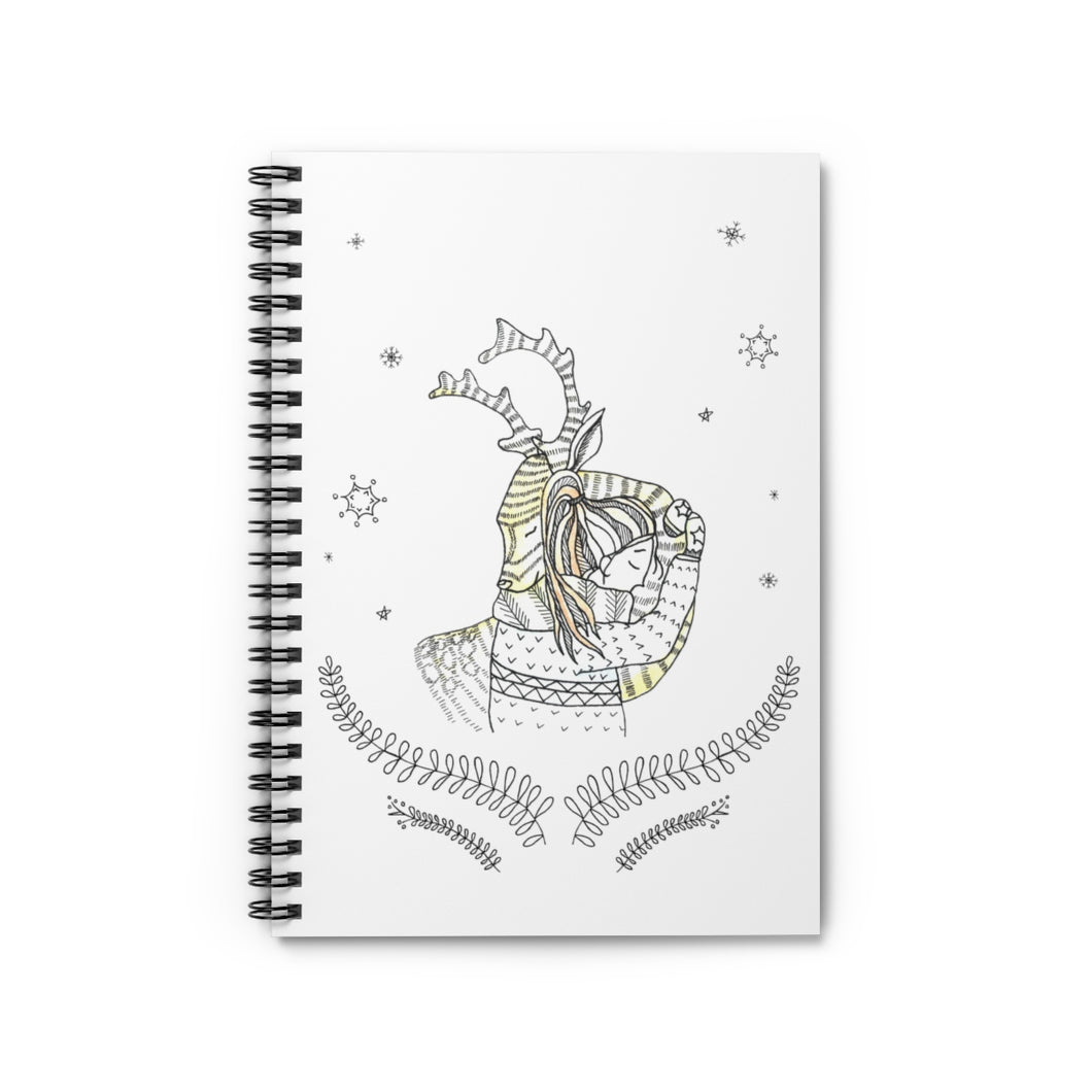 Spiral Notebook Ruled Line Winter Girl and Deer