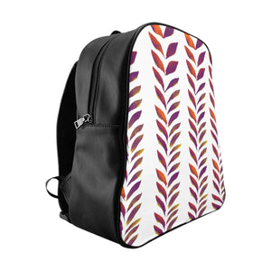 School Backpack Purple Leaves