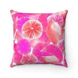 Spun Polyester Square Pillow Pink Citrus