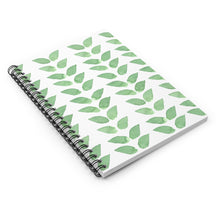 Load image into Gallery viewer, Spiral Notebook Ruled Line Green Leaves