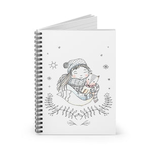 Spiral Notebook Ruled Line Winter Girl and Fox