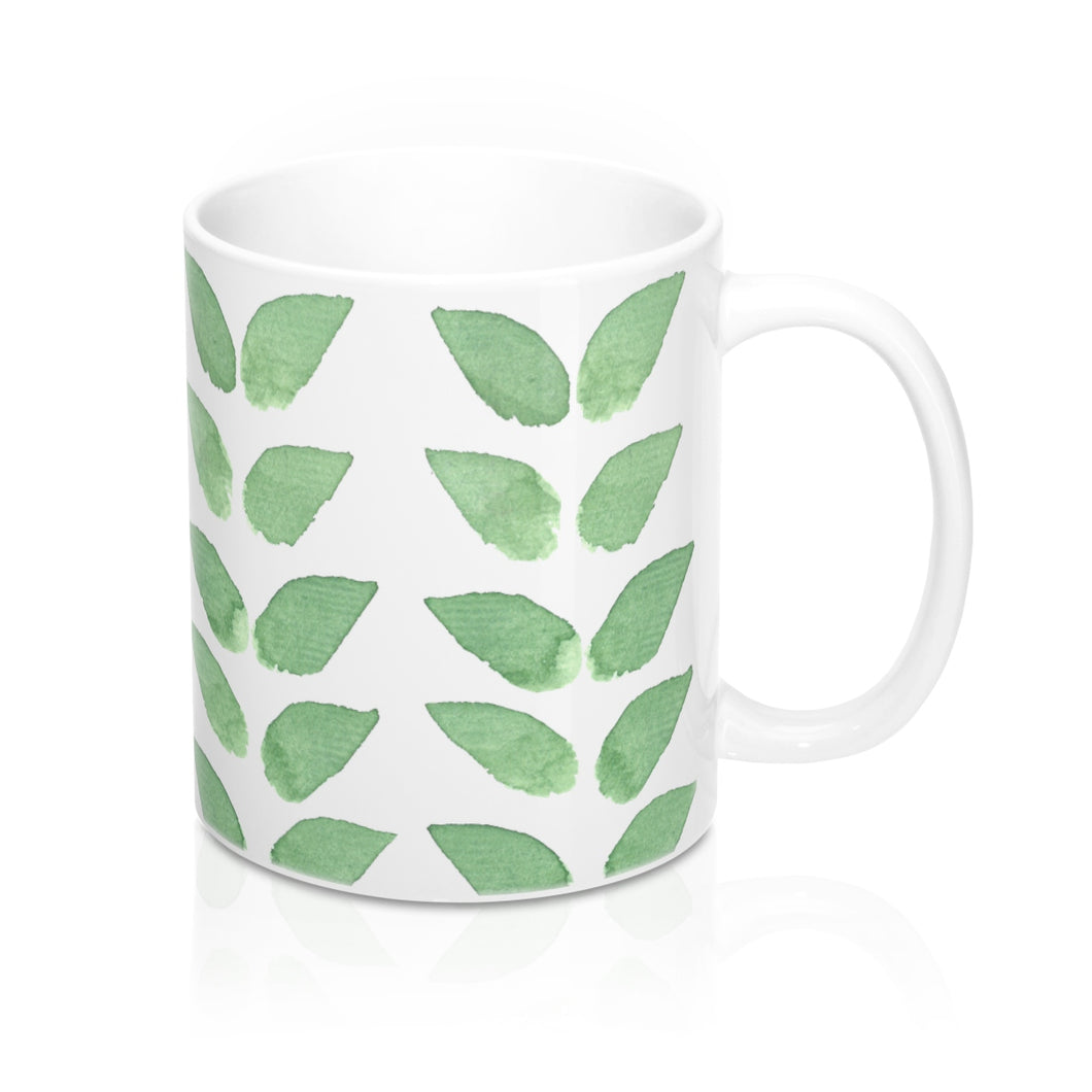 Mug Green Leaves 11oz