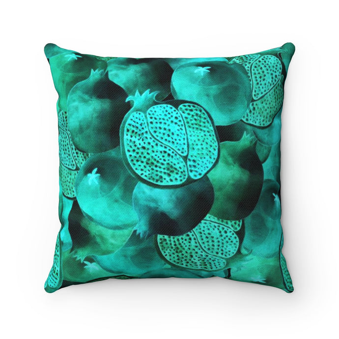Spun Polyester Square Pillow Green Garnet