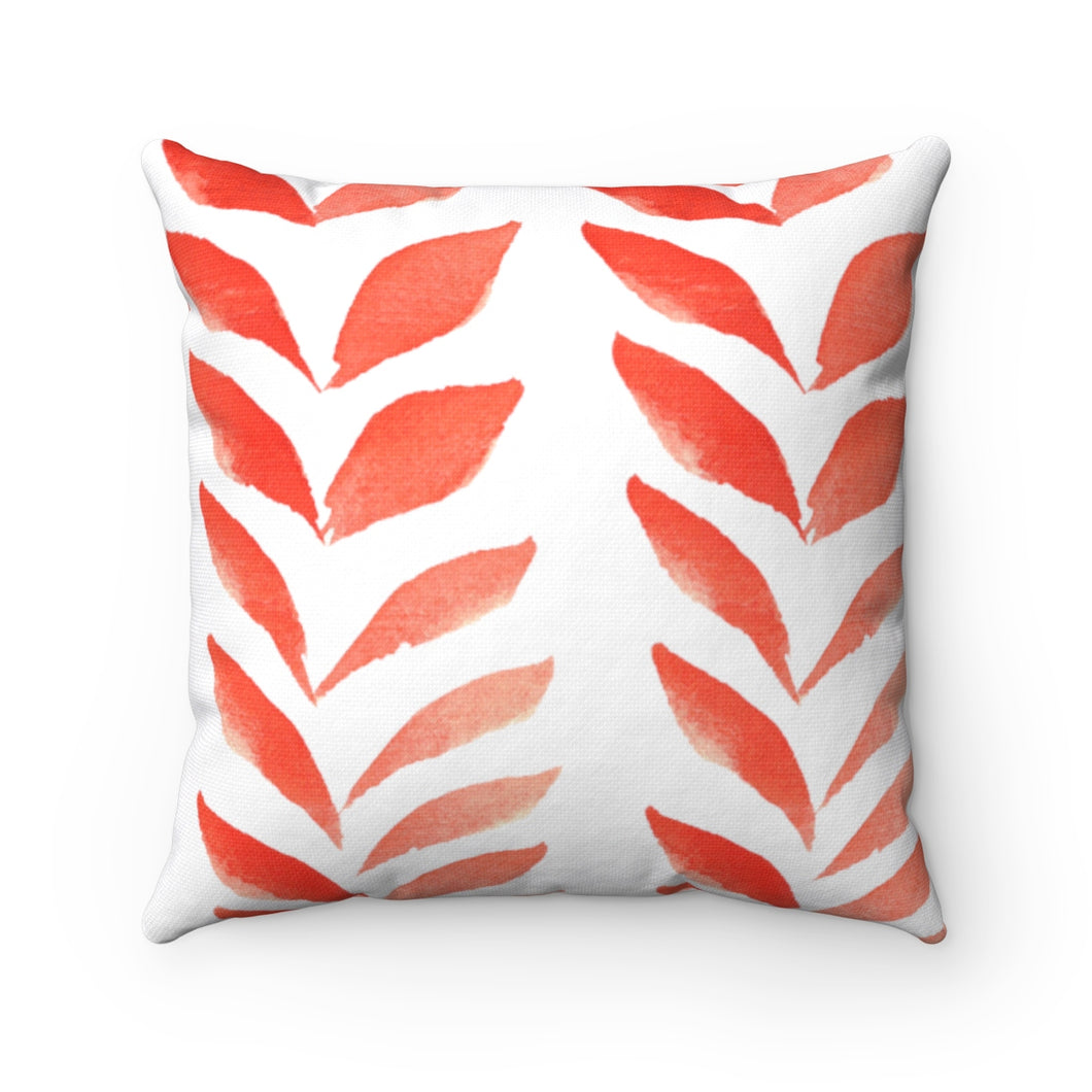 Spun Polyester Square Pillow Red Leaves