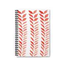Load image into Gallery viewer, Spiral Notebook Ruled Line Red Leaves