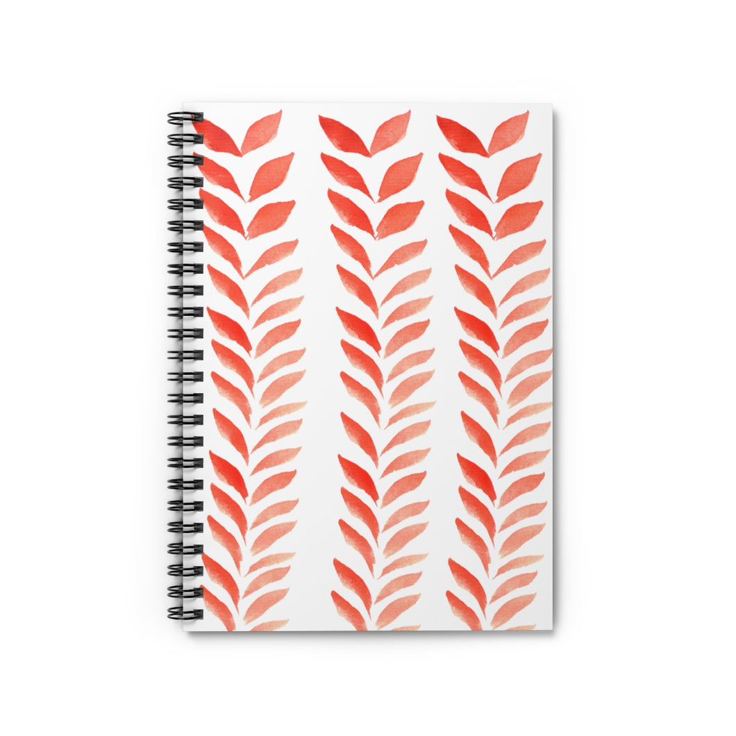 Spiral Notebook Ruled Line Red Leaves