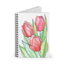 Load image into Gallery viewer, Spiral Notebook Ruled Line Tulips