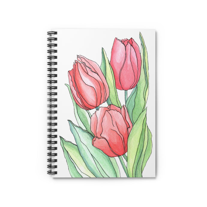 Spiral Notebook Ruled Line Tulips