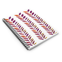 Load image into Gallery viewer, Spiral Notebook Ruled Line Purple Leaves