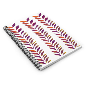 Spiral Notebook Ruled Line Purple Leaves
