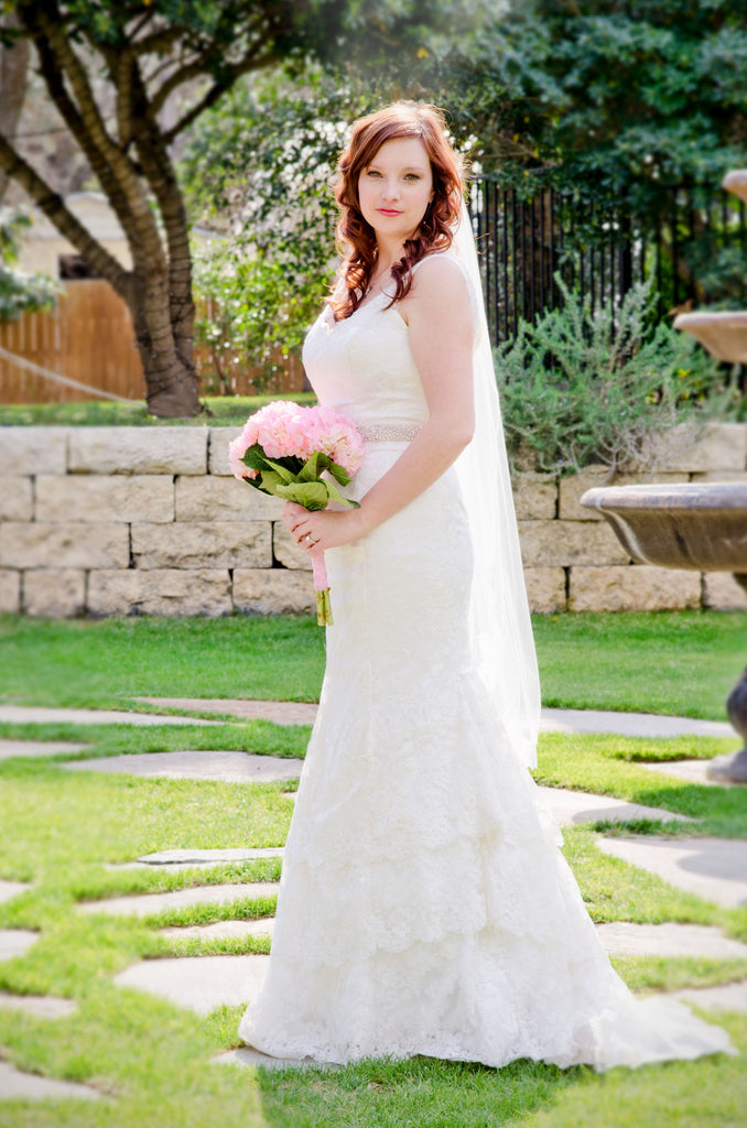 Lace Wedding Dress with V Neckline and Tiered Skirt