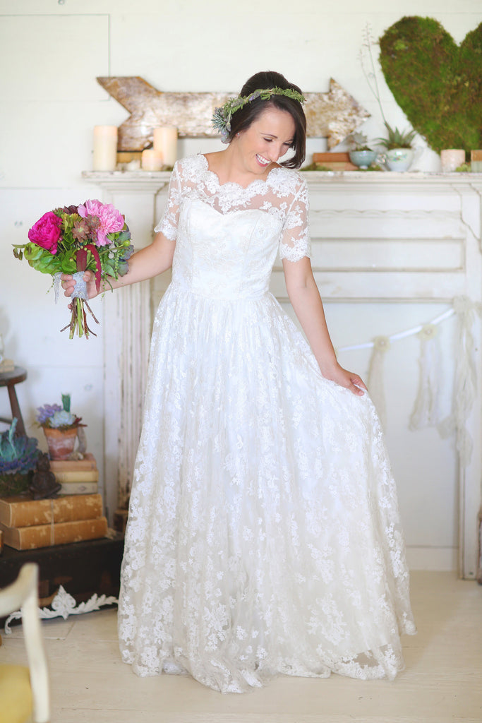 Lace Wedding Dress with Short Sleeves and Low Back