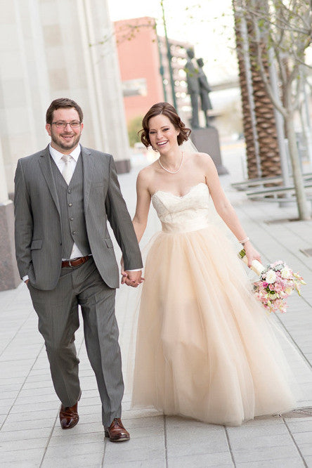 Two Piece Tulle Ballgown with Alencon Lace Bodice