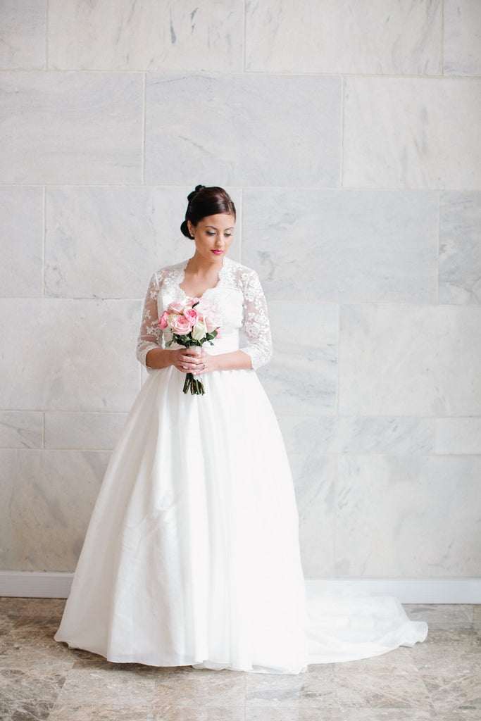 Taffeta Wedding Gown with Lace Sleeves