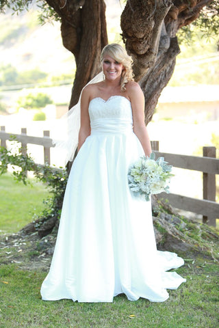 Taffeta Wedding Gown with Lace Bodice