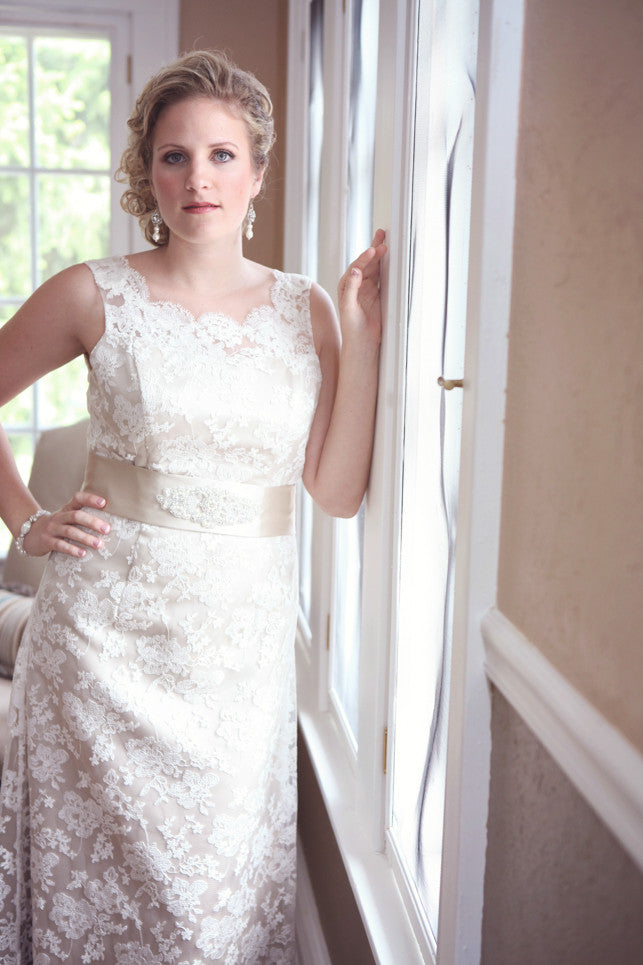 Lace Wedding Dress with High Neckline and Low Back