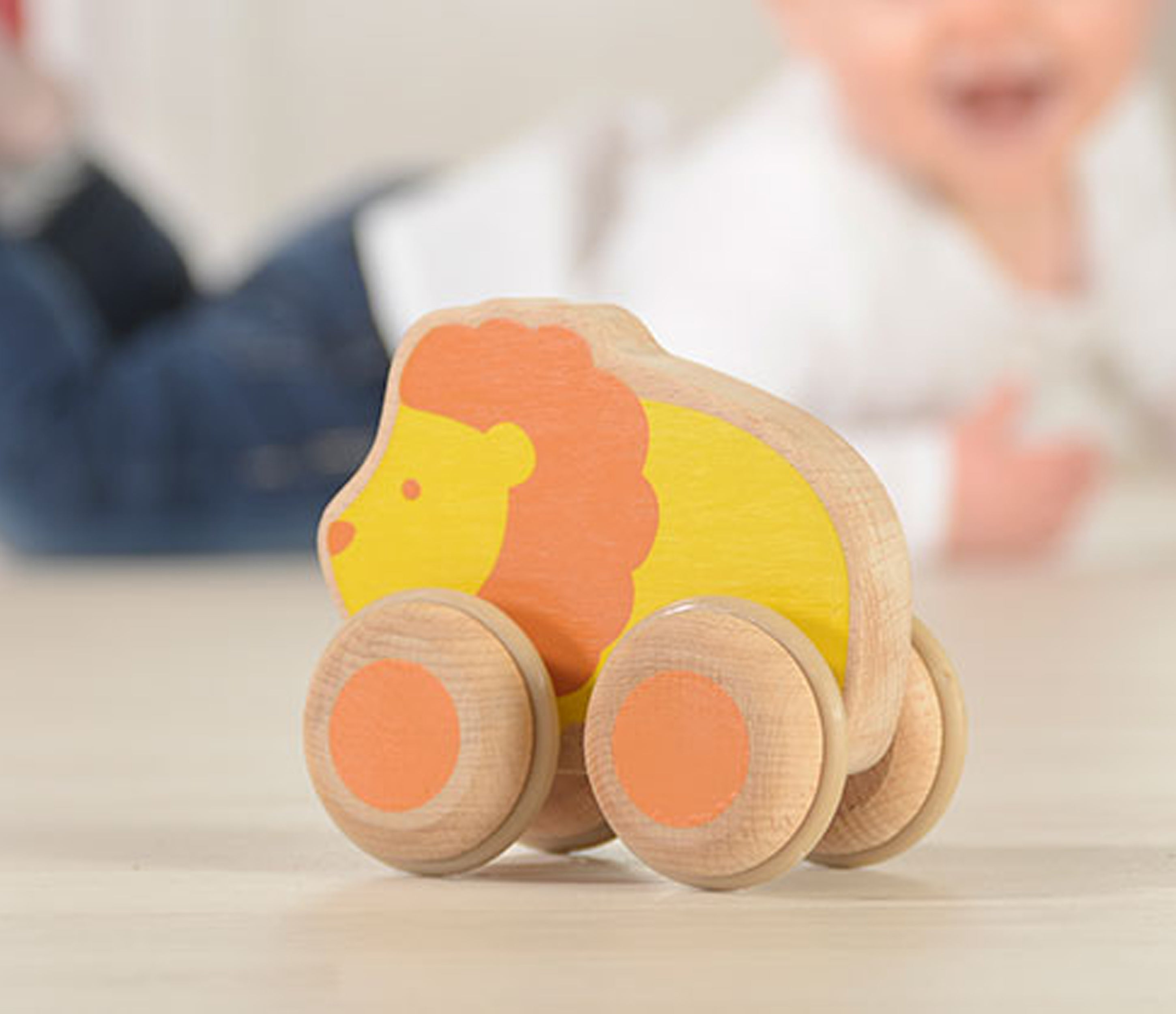 Wooden Push Along Lion Toy
