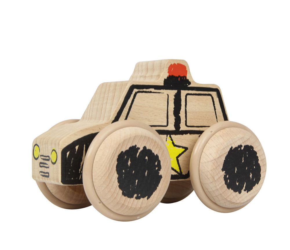 Wooden Push Along Police Car with Crayon Effect