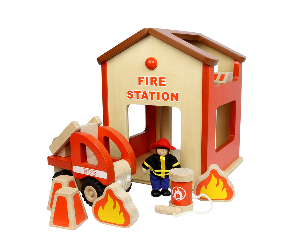 Wooden Fire Station Play Set