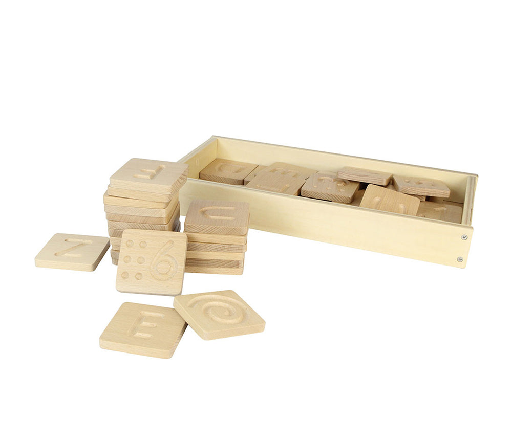 Tactile Wooden Uppercase and Lowercase Letter and Number Panel Set