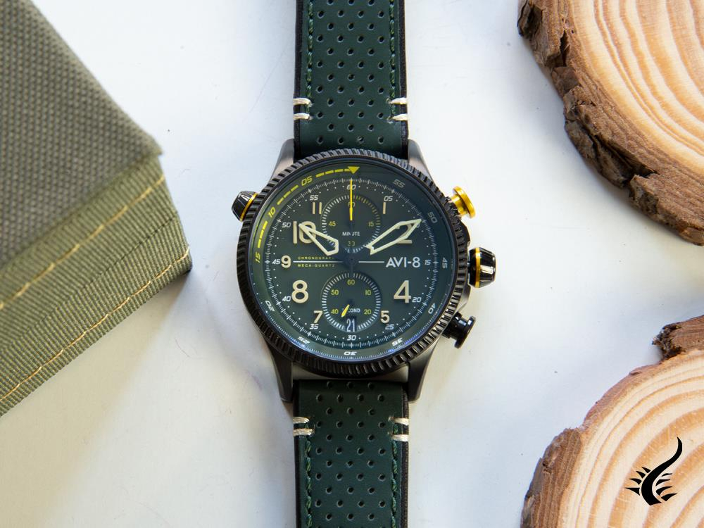 Montre à Quartz AVI-8 Hawker Hunter Duke Chronograph Cosford, Vert, AV-4080-03