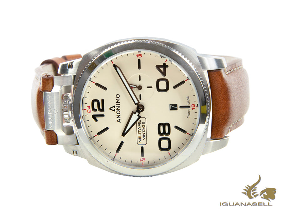 Montre Automatique Anonimo Militare Vintage, Blanc, 43,4 mm, AM-1021.01.001.A02