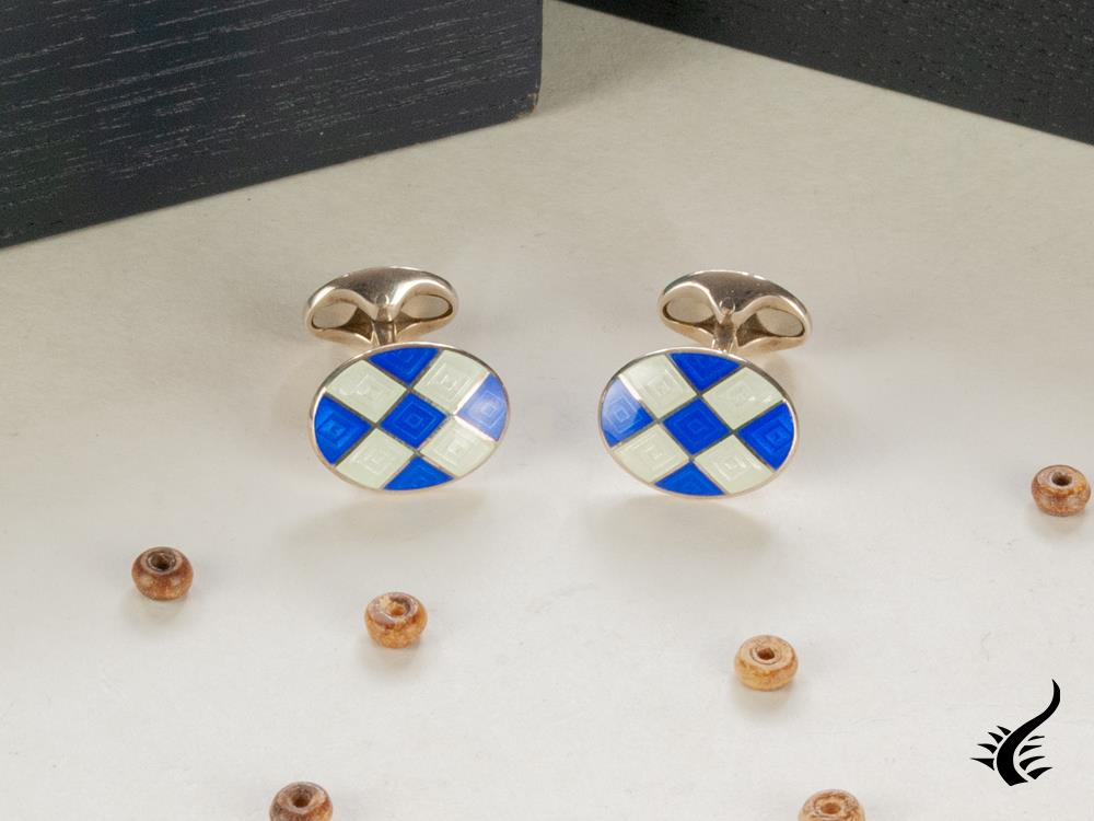 "Boutons de Manchette Deakin & Francis ""Royal Blue & Clear Patterened Cufflinks"""