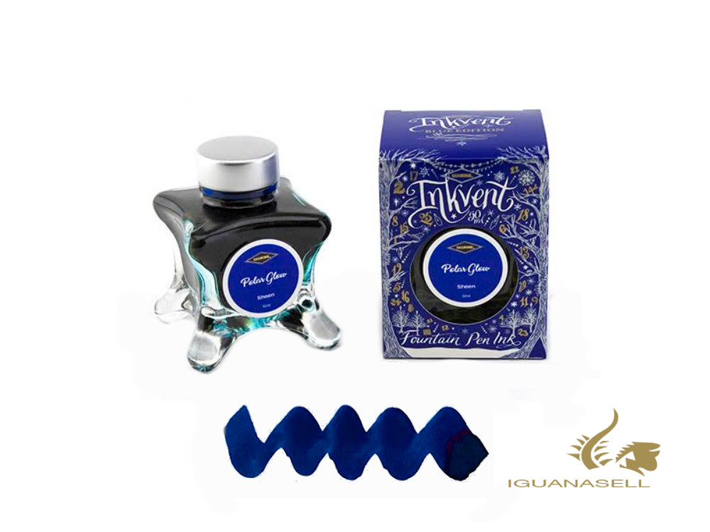 Encrier Diamine Polar Glow, Ink Vent Blue, 50ml, Bleu