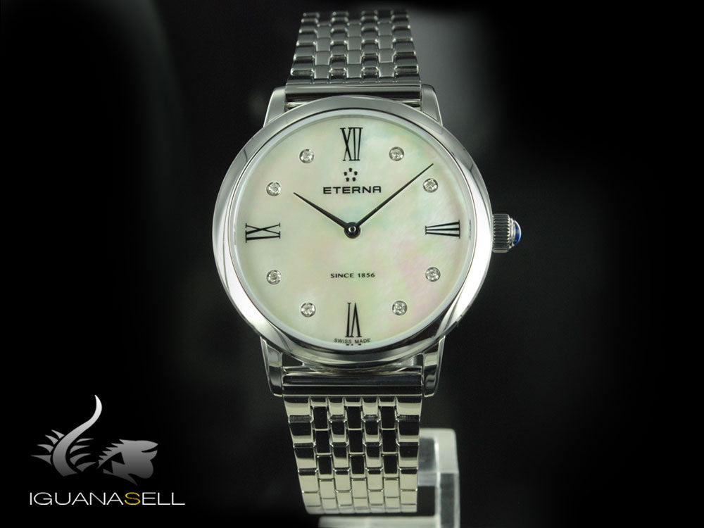 Montre à quartz Eterna Eternity Lady, ETA 956.412, 32mm, Diamants, Nacre