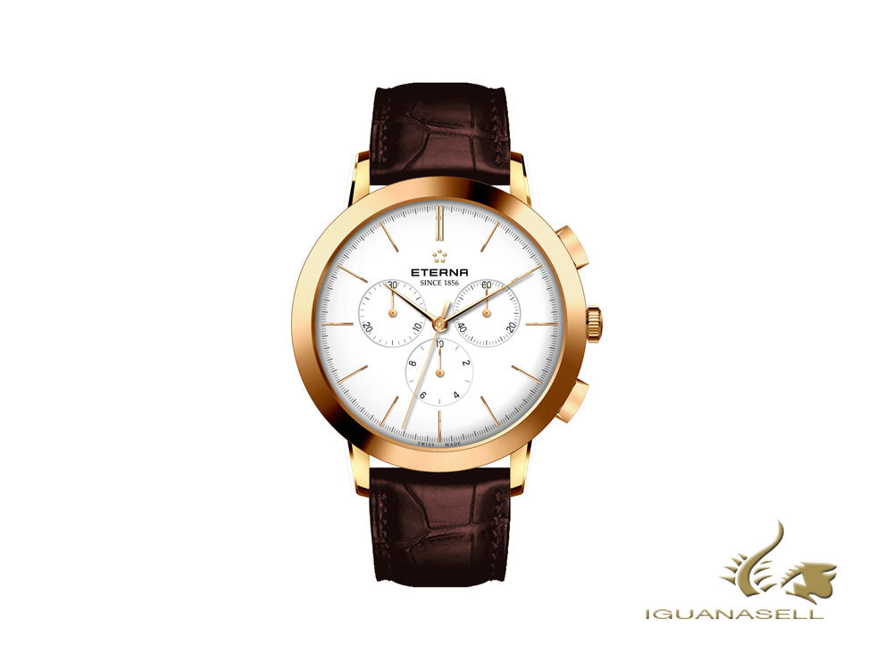 Montre à Quartz Eterna Eternity, Ronda 5040.B, 42mm, PVD Or, Chronographe