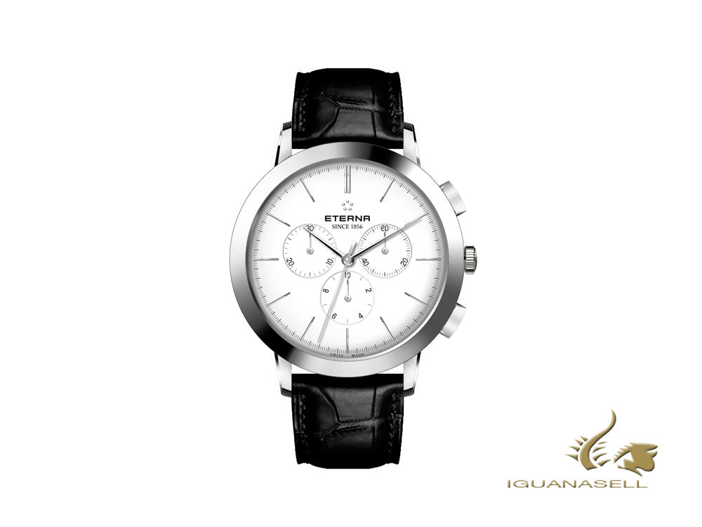 Montre à Quartz Eterna Eternity, Ronda 5040.B, 42mm, Blanc, Chronographe