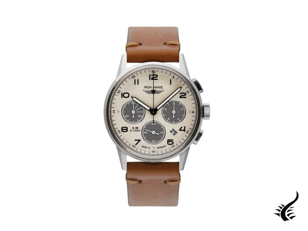 Montre à Quartz Iron Annie G38, Beige, 42 mm, Chronographe, Jour, 5372-1