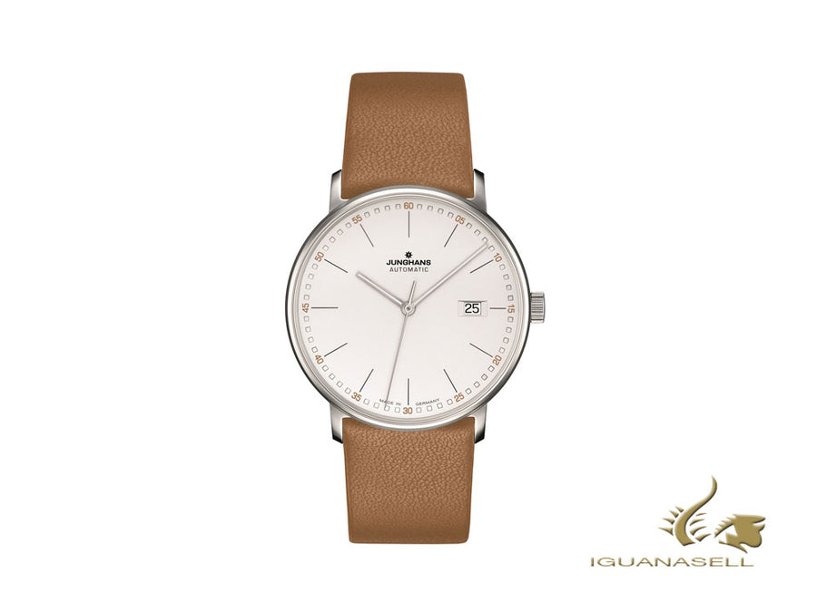 Montre Automatique Junghans Form A, J800.2, 39,3mm, Blanc/Marron, 027/4734.00