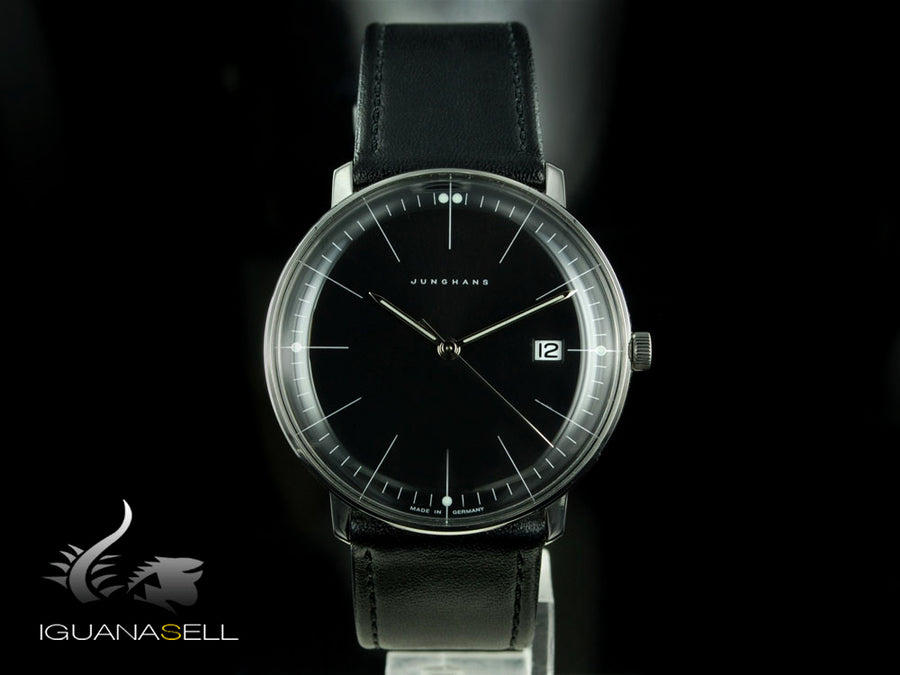 Montre à quartz Junghans Max Bill, J645.33, 38mm, Noir, 041/4465.00