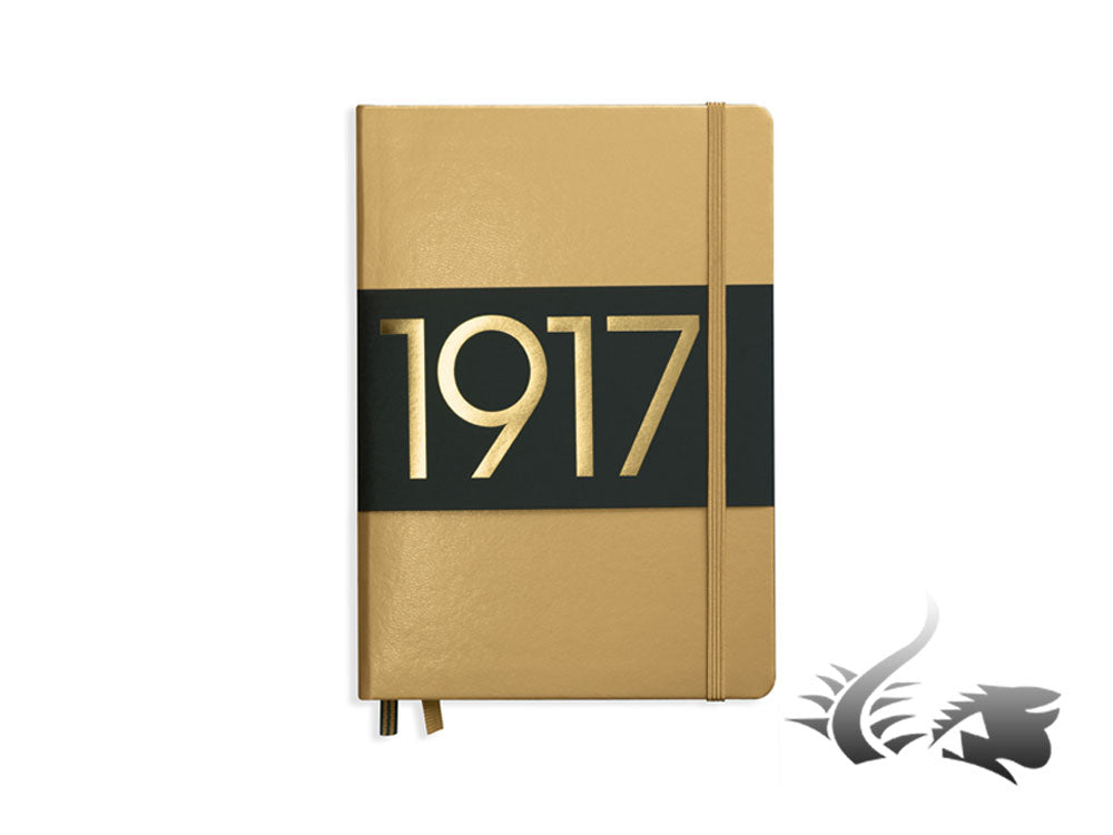 Carnet Leuchtturm1917 Metallic Edition Couverture rigide, A5, Ligné, Or
