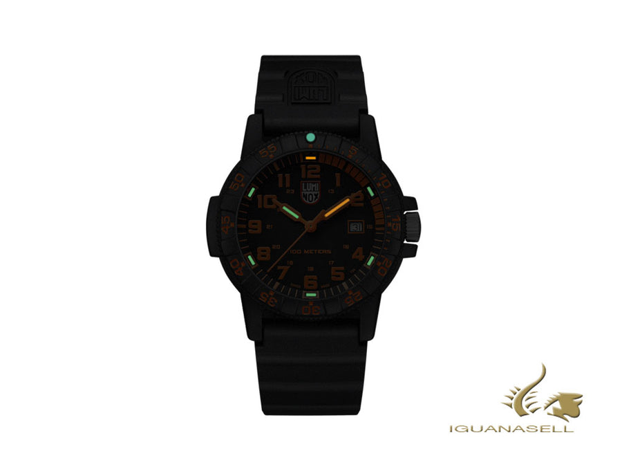 Montre à Quartz Luminox Sea Turtle Giant, Noir/Orange, Carbone, 44 mm, 10 atm
