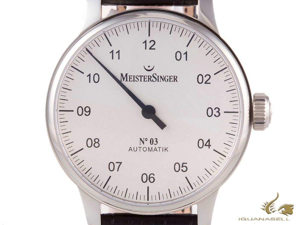 Montre Automatique Meistersinger N3, ETA 2824-2, 43mm. Bracelet en cuir, AM901