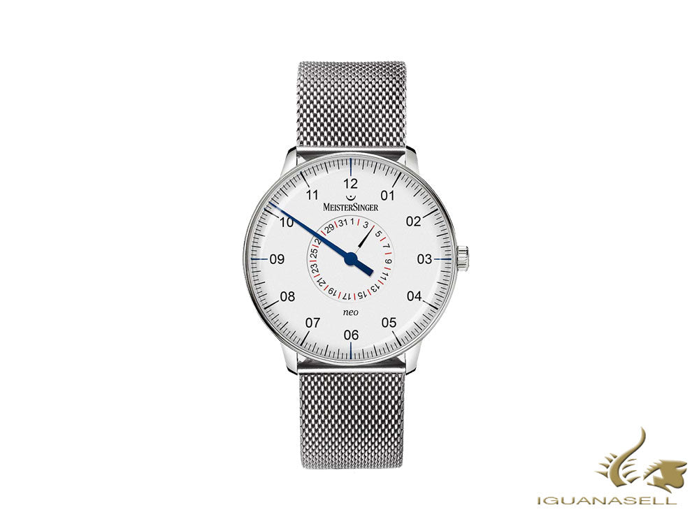 Montre Automatique Meistersinger Neo Pointer Date, 36 mm, Blanc, NED901