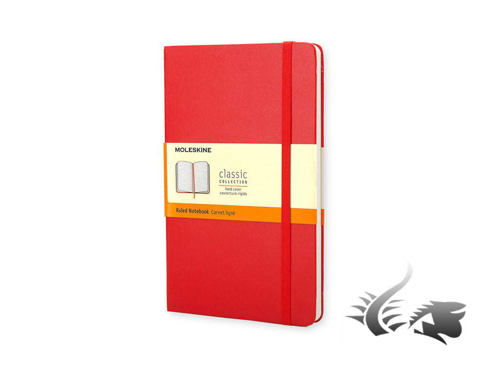 Carnet Moleskine Couverture rigide, Large (13 x 21 cm), Ligné, Rouge, 240 pages