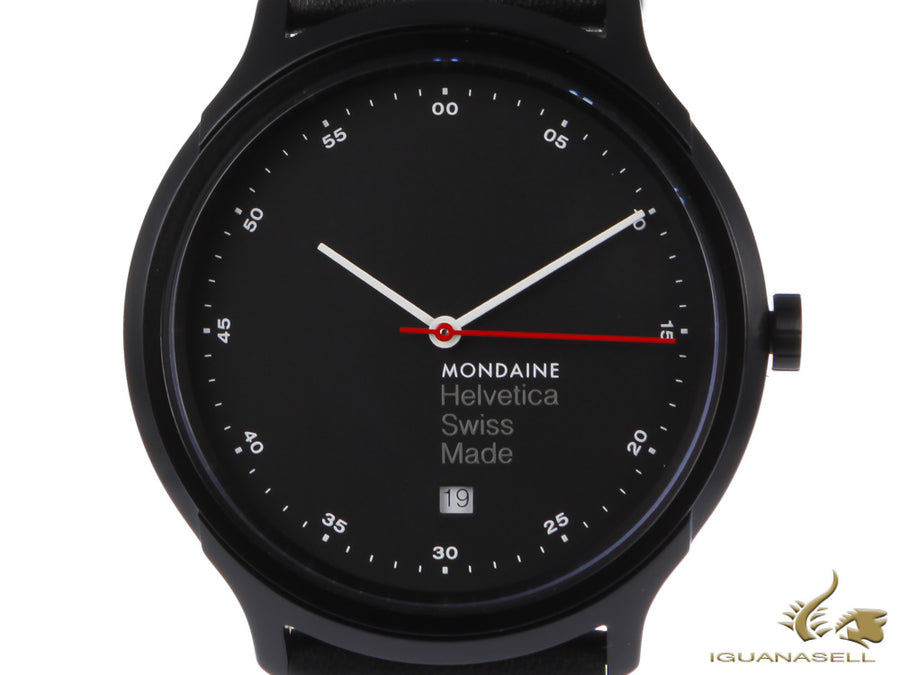 Montre à Quartz Mondaine Helvetica Spiekermann Edition Regular, PVD, Noir, 40mm