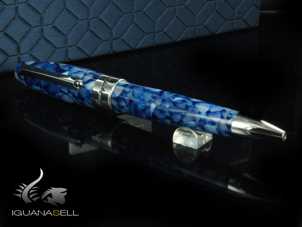 Stylo bille Montegrappa Fortuna Marrakech, Résine Bleue, Attributs Palladium