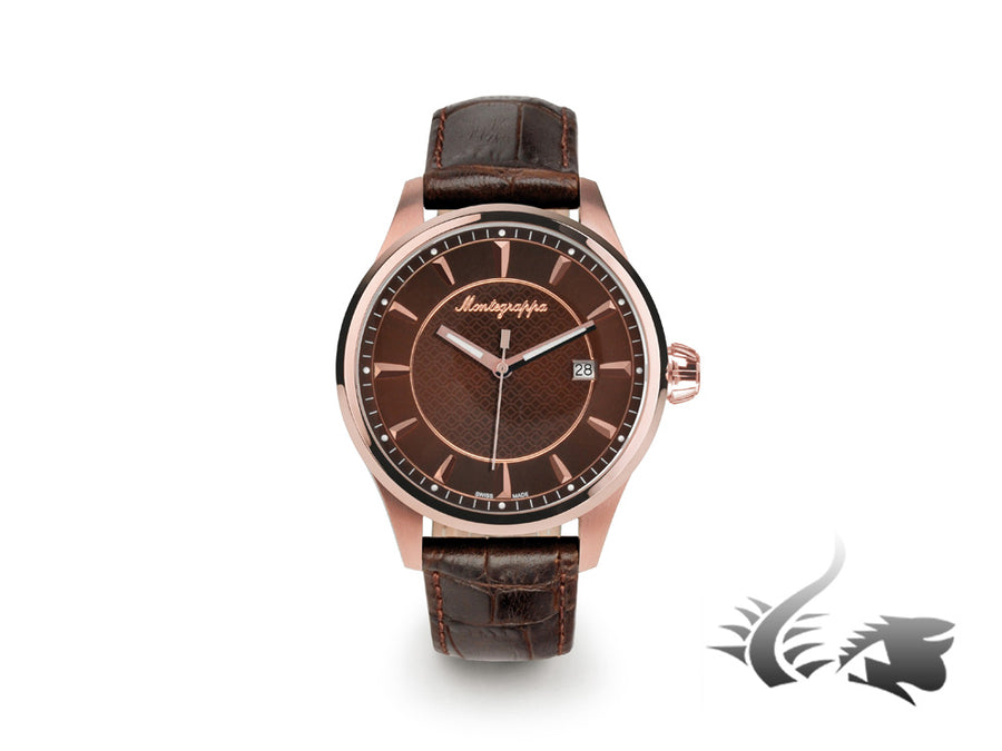 Montre Montegrappa Fortuna Three Hands, Acier inoxydable - PVD et Or rose