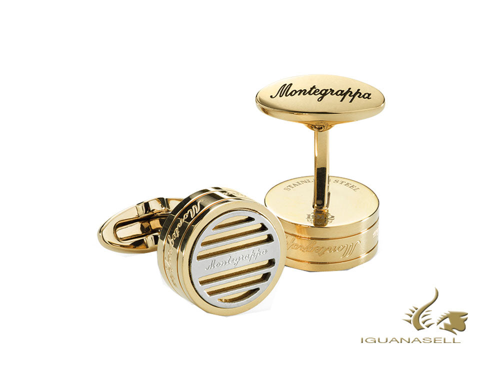 Boutons de Manchette Montegrappa Grid, Acier inoxidable, Or IP, IDGRCLY