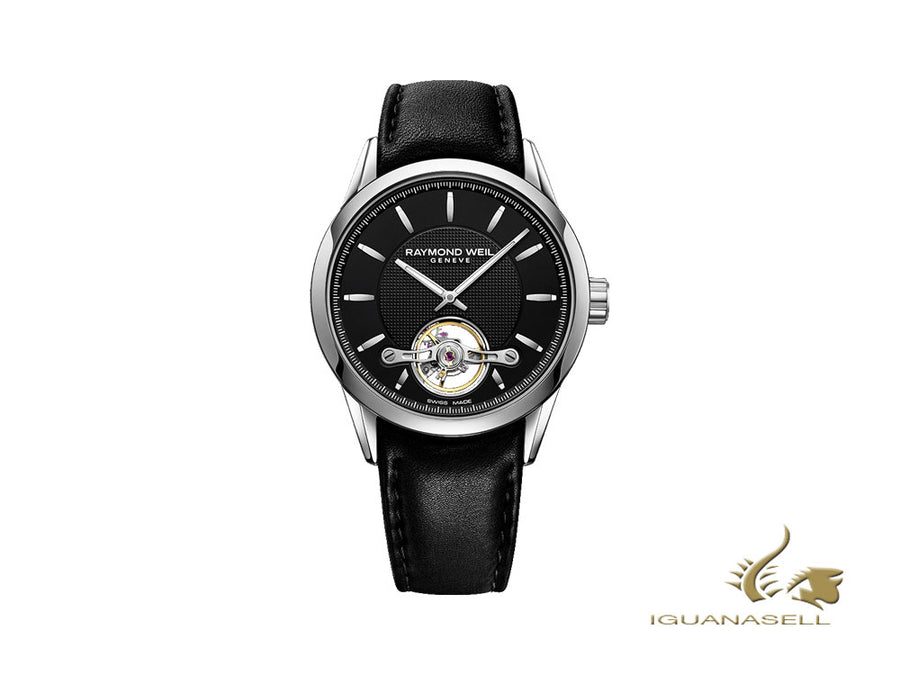 Montre Automatique Raymond Weil Freelancer, RW 1212, 42,5mm, Noir, Bracelet cuir