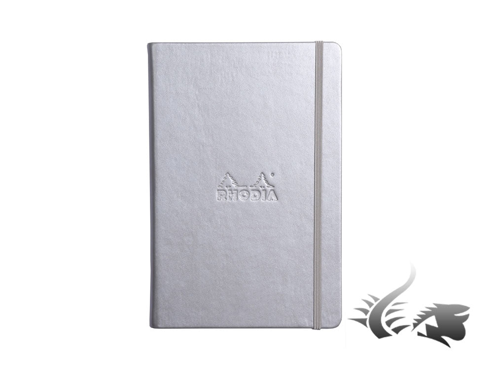 Carnet Rhodia Ice, A5, Couverture rigide, Pointillés, Argent, 192 pages, 118767C