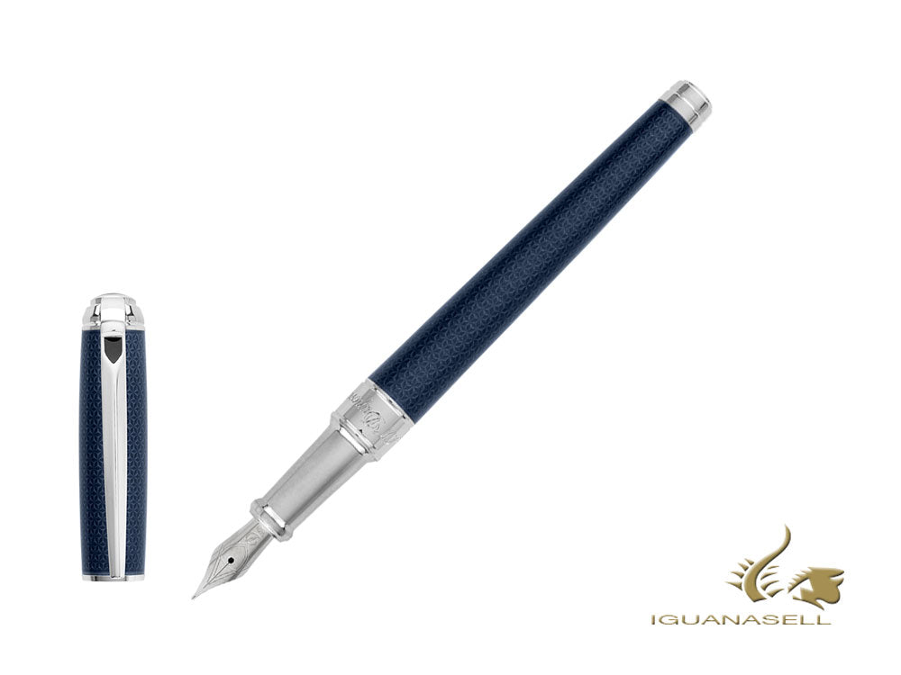 Stylo Plume S.T. Dupont New Line D Medium, Laque, Bleu, Guilloche