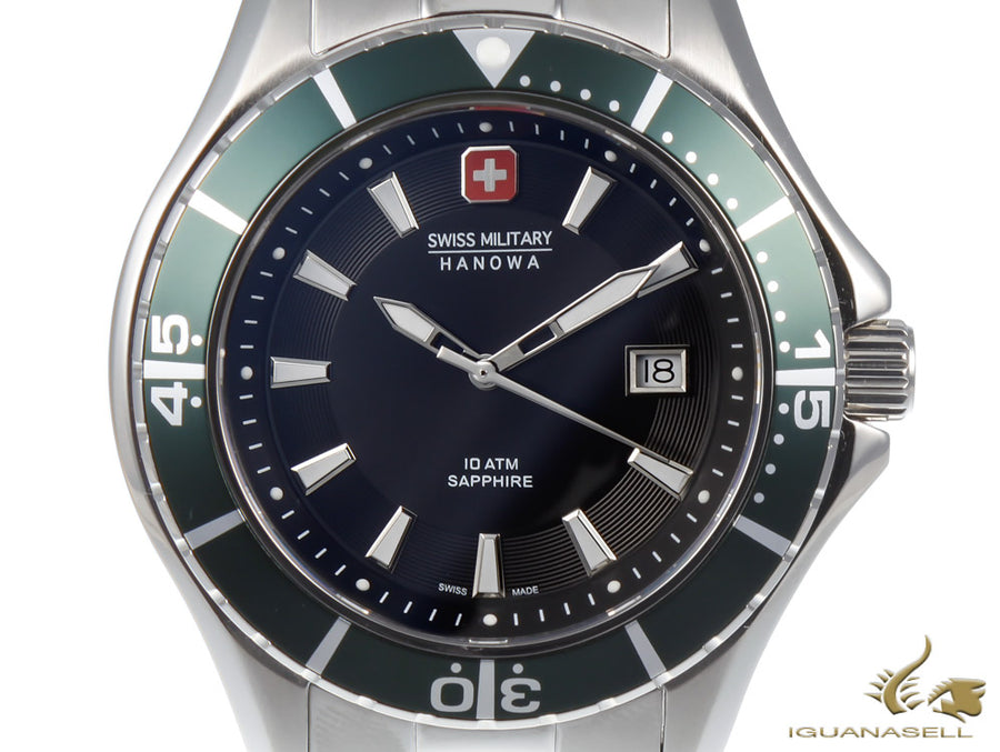 Montre à Quartz Swiss Military Hanowa Navy Nautila, Noir/Vert, 44 mm, 10 atm