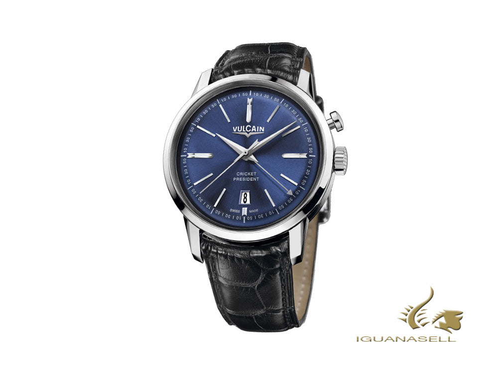 Montre Manuel Vulcain 50s Presidents Tradition,  V-16, Bleu, 160151.326L