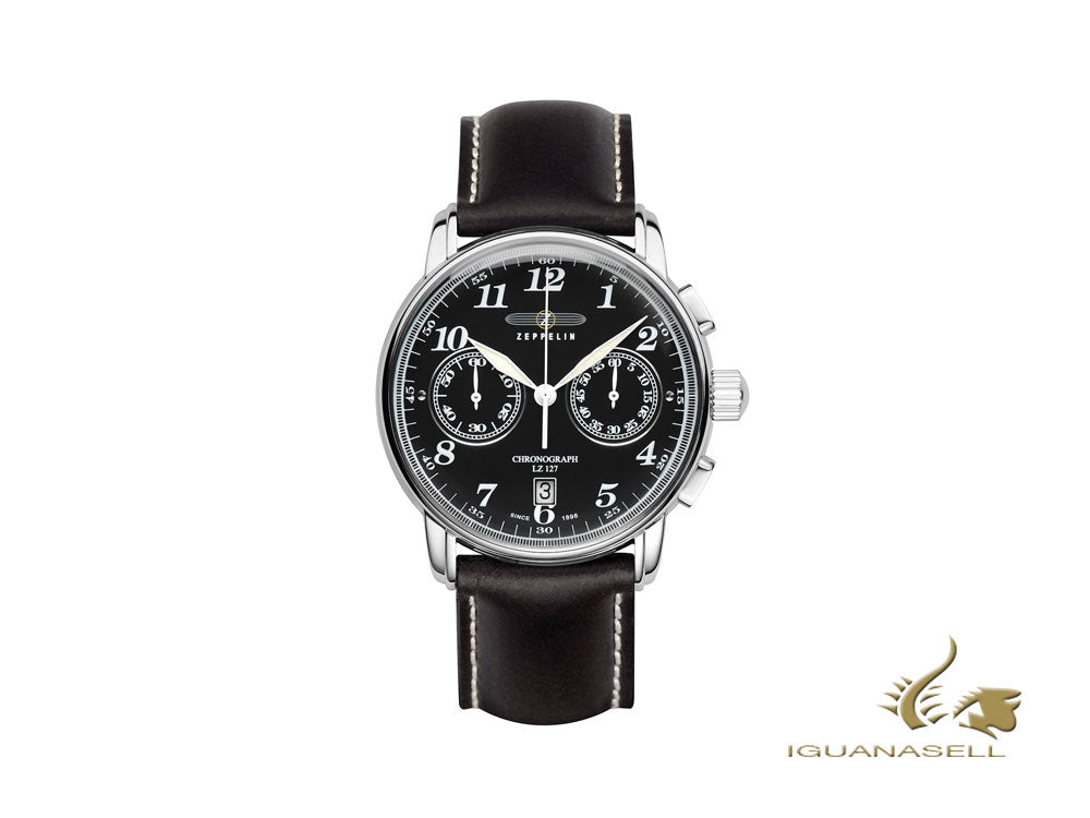 Montre à Quartz Zeppelin LZ 127 Graf Zeppelin, Noir, 42 mm, Chronographe, 7678-2