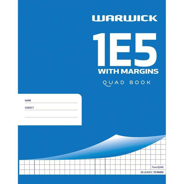 Warwick Exercise Book 1E5 36 Leaf With Margin Quad 7mm 255x205mm - Office Connect